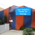 tent fumigation with funny sign