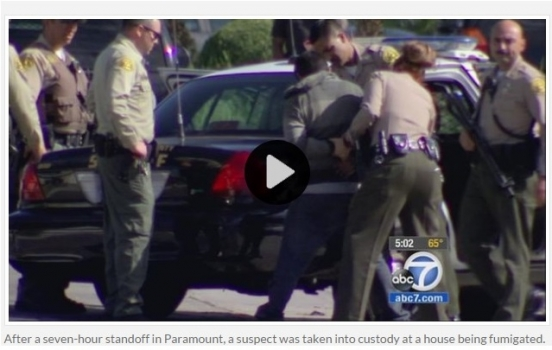SUSPECT IN CUSTODY AFTER STANDOFF AT HOME BEING FUMIGATED IN PARAMOUNT
